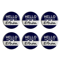 Ethan Hello My Name Is Plastic Resin Button Set of 6