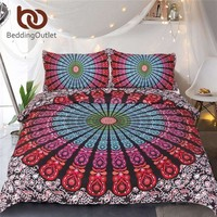 Beddingoutlet 3 Piece Medallion Motif Duvet Cover Set Hippie Floral Indian Mandala Bedding Set