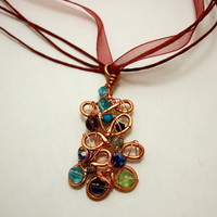 Copper Wire Wrapped Pendent Necklaces OOAK by moonknightjewels