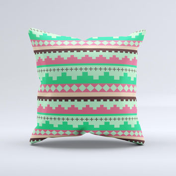 Lime Green Coral Tribal Ethic Geometric Pattern Ink-Fuzed Decorative Throw Pillow