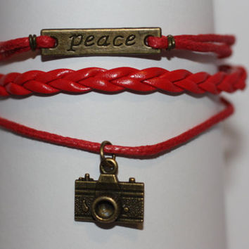SHINE~ Handmade Peace Camera Charm Red Leather Wedding Photographer Gift Multi-layer Handcrafted Bracelet ilovecheesygrits