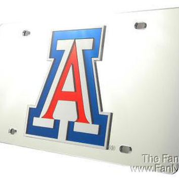 Arizona Wildcats SILVER SD Deluxe Laser Mirrored License Plate Tag University of