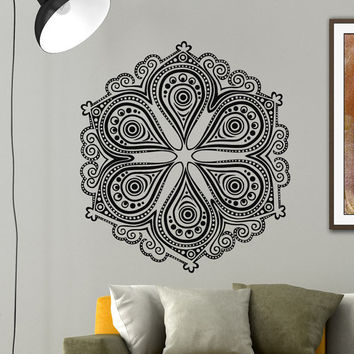Mandala Wall Decal Yoga Vinyl Sticker Lotus Flower Indian Pattern Wall Decals Murals Bedroom Dorm Yoga Studio Om Wall Art Home Decor Z844