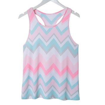 Stylish Scoop Neck Sleeveless Zig Zag Racerback Women's Tank Top