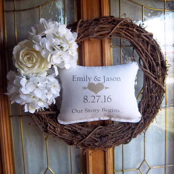 Front door wreath, anniversary gift, newlywed gift, grapevine wreath, porch decor, personalized date pillow, custom wedding gift, home decor