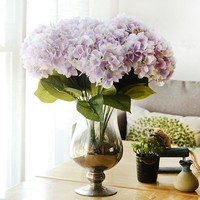 Artificial Hydrangea Silk Flower 5 Big Heads Bouquet Fleur Artificielle Flores Arrange Table Wedding Home Decor Party accessory