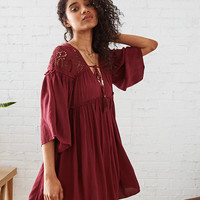 AEO Eyelet Peasant Dress, Wine