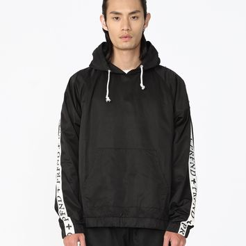 Satin Track Cross Stripe Pullover Hoodie in Black