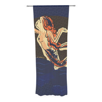 "Famenxt ""Mermaid"" Blue Orange Decorative Sheer Curtain"