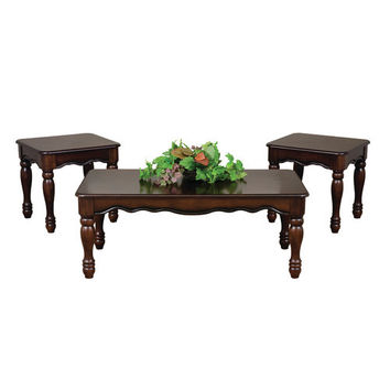 Cherry Turned Leg Coffee Table Set by Serta Upholstery