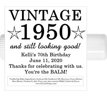 15 Adult Vintage Birthday Party Lip Balm Favors