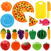 DCCKL72 Plastic Fruit Vegetable Cutting Toy Set Kids Baby Early Leaning Education Toy 24 Pcs/ Set  Fruit Vegetable Kitchen Cutting Toys