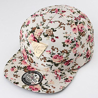 Ninth-City Girls Floral Flower Pattern Hip Hop Snapback Hats Adjustable Outdoor Sports Dancing Baseball Flat Cap (Beige)