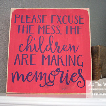 "12x12"" Excuse The Mess Wood Sign"