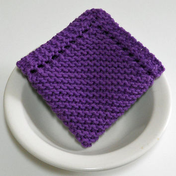 Large Knit Washcloth, Hand Knit Dishcloth in Dark Purple, 100% cotton, mix and match to make a custom set, Housewarming Gift, Shower Gift
