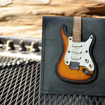 Men Wallet  Stratocaster Guitar & Sunburst Color leather