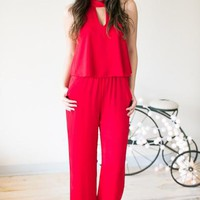 Be Mine Cut Out Halter Jumper - Red