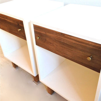 Custom Made Vintage Inspired End Tables In White and Wood