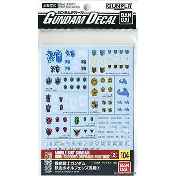 Bandai Gundam Decal GD-104 Iron-Blooded Orphans IBO Multi-use 2 Water Slide USA