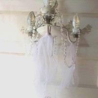 Antique  Chandelier Lighting. Bohemian Romantic Wedding Whte Shabby Cottage Romance. Petite Candelabra. Brass, Crystals,