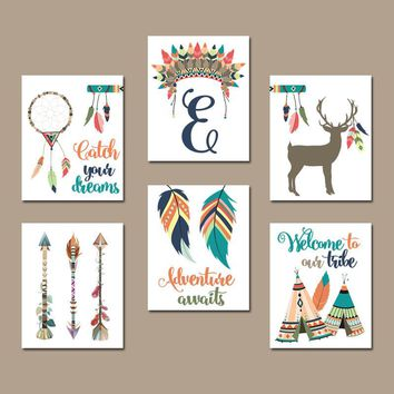 TRIBAL Nursery Wall Art, Tribal Quote Decor, Canvas or Prints, Woodland Baby Decor, Tee Pee Arrows Deer Dream Catcher Feathers, Set of 6