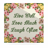 """NL Designs """"Live, Love, Laugh"""" Floral Typography Luxe Square Panel"""