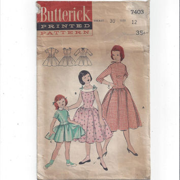 Butterick 7403 Pattern for Girls' Longer Bodice Dress, Size 12, 1948-49 Vintage Pattern, Home Sewing Pattern, Girls' 1940s Fashion,