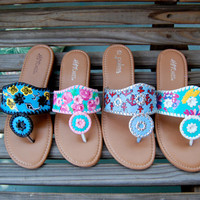 Custom Painted Lilly Pulitzer Inspired Sandals