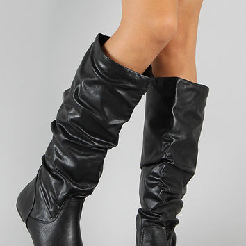 Soda Slouchy Knee High Flat Boot