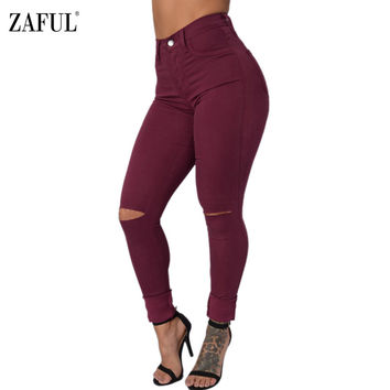 ZAFUL Woman Pencil Jeans Autumn Winter Candy Color Slim Skinny Black Ripped Broken Hole Long Denim Pants Trouser Plus Size S-3XL