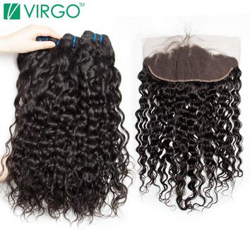 Brazilian Water Wave 3 Bundles with Lace Frontal Closure Human Hair Bundles With Closure Frontal Virgo Hair Non-remy Weave