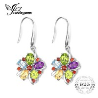 JewelryPalace Genuine Amethyst Citrine Garnet Peridot Sky Blue Topaz Earrings Dangle Real Pure Solid 925 Sterling Silver Jewelry