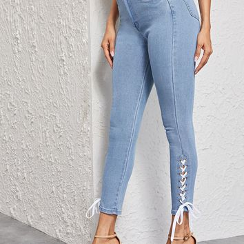 Bleach Wash Lace Up Detail Skinny Jeans