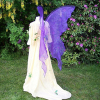 Huge Moonbeam BLUE PURPLE Fairy Wings Costume adult xl WEDDING gown dress up goddess tribal dance rave elven Faerie cosplay plus larp lotr