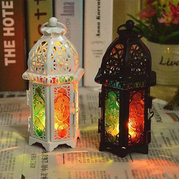 New Arrival:: Vintage Metal Hollow Candle Holder Color Glass Crystal Moroccan Candlestick Hanging Lantern Wedding Decor