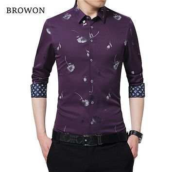 Men's Shirt flower Long Sleeve Autumn Clothing