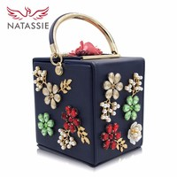 Natassie Brand New Design Box Flower Handbags Women Pearl Party Bag Ladies Evening Bag Wedding Day Clutches Handbag