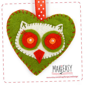 Owl head in Heart - Hanging Ornament - Felt pattern and Tutorial - DIY - Making pattern PDF - Plushie animal Instructions