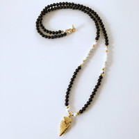 Gold Arrowhead Beaded Necklace with Black Onyx and White Howlite Beads and 24K Gold Electroplated Arrowhead Charm Necklace