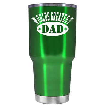 Worlds Greatest Dad on Translucent Green 30 oz Tumbler Cup