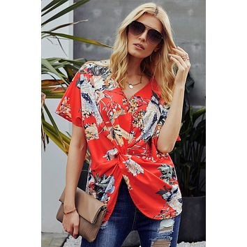 Orange Amaryllis Floral Twist Blouse Top
