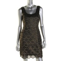 Guess Womens Maria Metallic Tiered Cocktail Dress