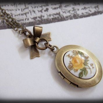 Yellow Rose, antique brass locket long necklace