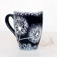 Coffee Mug Indigo Blue dandelion Mug hand painted cup