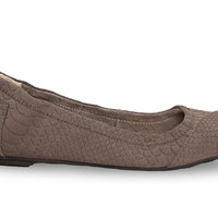 Charcoal Suede Snake Women's Ballet Flat