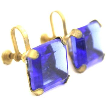 "Vintage 1920s Earrings Cobalt Blue Glass Square Faceted Brass Screw Back 9/16"" Art Deco Gatsby"