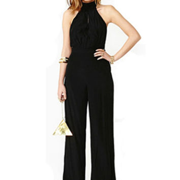 Black Halter Neck Chiffon Jumpsuit