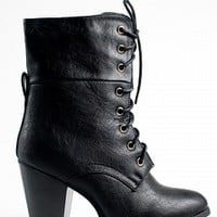 SIERRA-1-8-4 Chunky Heel Lace-Up Boots Women Boots BLACK Bare Feet Shoes