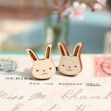 Laser Cut Wooden Bunny Rabbit Stud Earrings