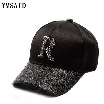 Trendy Winter Jacket Ymsaid 2018 New Rhinestone Baseball Cap Casual Sports Men Women Hat Snapback Hat Gorra Hombre Sequins Hip Hop Hats AT_92_12